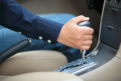 Shifting the gear stick Royalty Free Stock Images