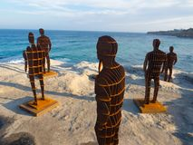 `Shifting horizons` is a sculptural artwork by April pine at the Sculpture by the Sea annual events free to the public at Bondi. SYDNEY, AUSTRALIA. – On royalty free stock photo