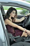 She shifts gears while riding in the car Stock Photos