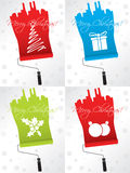 Shifty christmas greeting card set. Shifty christmas greeting card designs with paint rollers Stock Images