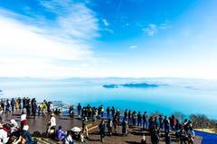 Shiga, Japan - November 13.2017: De Vallei van het Biwameer in Shiga Japan Meer Biwa op het centrum van Shiga-Prefectuur wordt ge stock foto