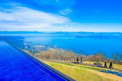 Shiga, Japan - November 13.2017: De Vallei van het Biwameer in Shiga Japan Meer Biwa op het centrum van Shiga-Prefectuur wordt ge stock afbeelding
