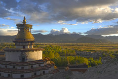 Shigatse monastery at sunsnet. Tibet Stock Image
