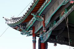 Detail of the roof decorations of a building in the village of Shigu, Yunnan, China stock image