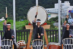 Shiharama Hanabi Festival. The Taiko drummers performed for a few hours before the fireworks festival starts in Shiharama beach, Izu Peninsular, Japan Royalty Free Stock Image