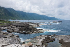 Shihtiping, Taiwan. Volcanic rock formations at Shihtiping, Hualien bay Pacific Ocean in Taiwan stock photos