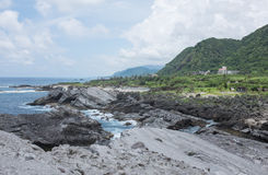 Shihtiping, Taiwan. Volcanic rock formations at Shihtiping, Hualien bay Pacific Ocean in Taiwan Stock Photos