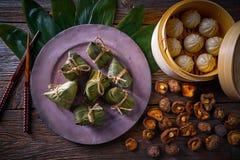 Shiitaké de petits pains de porc de boulettes de riz de Zongzi Images libres de droits