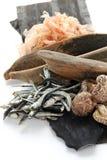 Gusto japonés del umami, ingredientes del dashi (acción de sopa japonesa) Foto de archivo