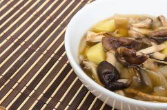 Shiitake mushroom soup with onion and potato Royalty Free Stock Photography