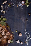 Shiitake mushrooms herbs and spices. Fall menu ingredients. Preserves making background. Top view, copy space. Stock Images