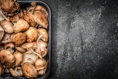 Shiitake mushrooms on rustic background, top view, Stock Image
