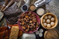 Shiitake rice dumplings steamed pork buns noodles. Asian cuisine food mix Stock Photo