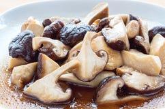 Shiitake, salsa dell'ostrica Fotografie Stock Libere da Diritti
