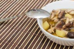 Shiitakechampignonsoep met ui en aardappel Stock Foto
