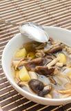 Shiitakechampinjonsoppa med löken och potatisen Fotografering för Bildbyråer