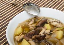 ShiitakePilzsuppe mit Zwiebel und Kartoffel Stockfotografie