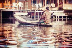 Shikara boat in Dal lake , Kashmir India Royalty Free Stock Image