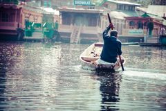 Shikara boat in Dal lake , Kashmir India Stock Image