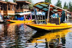 Shikara boat in Dal lake , Kashmir India Royalty Free Stock Images