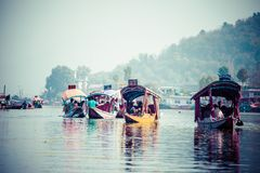 Shikara boat in Dal lake , Kashmir India Stock Photos