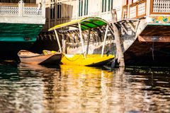 Shikara boat in Dal lake , Kashmir India Stock Photo