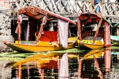 Shikara boat in Dal lake , Kashmir India Royalty Free Stock Photography
