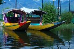 Shikara boats in Dal lake-3. A beautiful scene of a boats moored in a lake in Kashmir Royalty Free Stock Photo