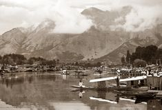 Shikara boats on Dal Lake with houseboats in Srinagar Stock Photo