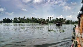 Shikara-Boot auf Wasser mit Kokosnussbäumen und -himmel Lizenzfreies Stockbild
