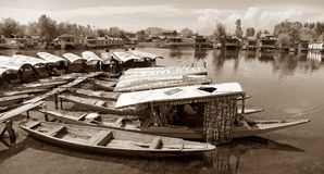 Shikara-Boote auf Dal Lake mit Hausbooten Lizenzfreies Stockfoto