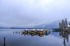 Shikara is one of the interesting activity that tourist can do in Kashmir Royalty Free Stock Photo