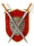 Shild con la spada. Obbligazione illustrazione di stock