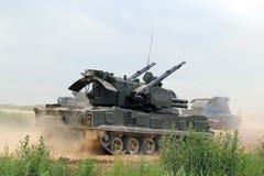 Shilka russo del carro armato sulla terra Immagini Stock Libere da Diritti