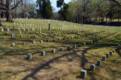 Shiloh National Cemetery. Gravestones mark the burial place of unidentified Union troops at Shiloh National Cemetery just above Pittsburg Landing Stock Photos