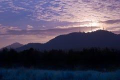 Shilouette de la puesta del sol Fotografía de archivo