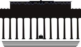 Shilouette del memoriale di Lincoln Fotografia Stock