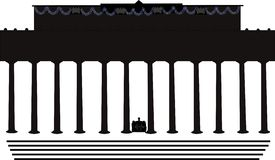 Shilouette of lincoln memorial. Lincoln memorial building in shilouette Vector Illustration