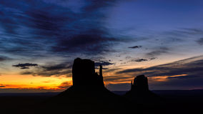 Shilouette of Monument Valley at sunrise, Arizona Royalty Free Stock Photo