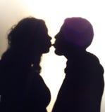 Shiloutte de femme et d'homme Photographie stock libre de droits