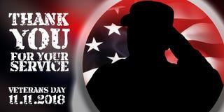 Shiluete of american soulder and USA flag, veterans day concept. 11 november 2018 vector illustration