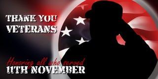 Shiluete of american soulder and USA flag, veterans day concept. 11 november 2018 stock illustration