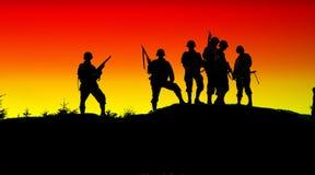 Shiluettes del soldato Fotografie Stock Libere da Diritti