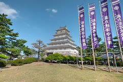 Shimabara Castle, Nagasaki, Kyushu, Japan. Shimabara Castle is a white walled castle built during the early Edo Period as the seat of the local feudal lord. The Royalty Free Stock Photo