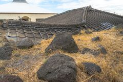 Buried Houses from volcano stock photo