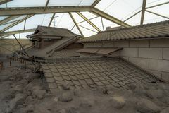 Buried Houses from volcano stock photos