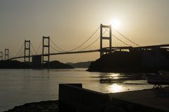 The Shimanami Kaido the most popular bicycle route in japan. Stock Photos