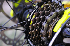 Shimano gear cassette on bicycle. Royalty Free Stock Image