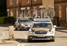 Shimano support up car in cycle race. Shimano support car in cycle race with cycles and bikes on its roof Royalty Free Stock Photography
