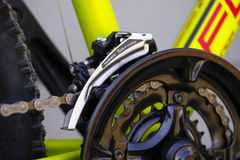 Shimano Tourney front derailleur on bicycle chainwheel Stock Photo